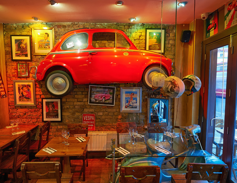 Cafe La Divina Red Car